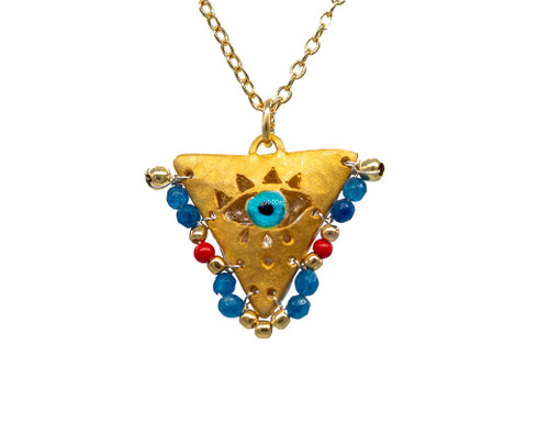 """Aegean Blue and Passion Red """"Fylachto"""" Talisman Pendant"""