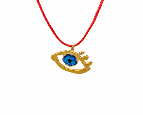 Eye of Gold in Red, Pendant in gold-plated silver