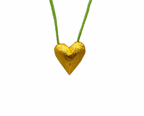 Heart of Gold in Green, Pendant in gold-plated silver