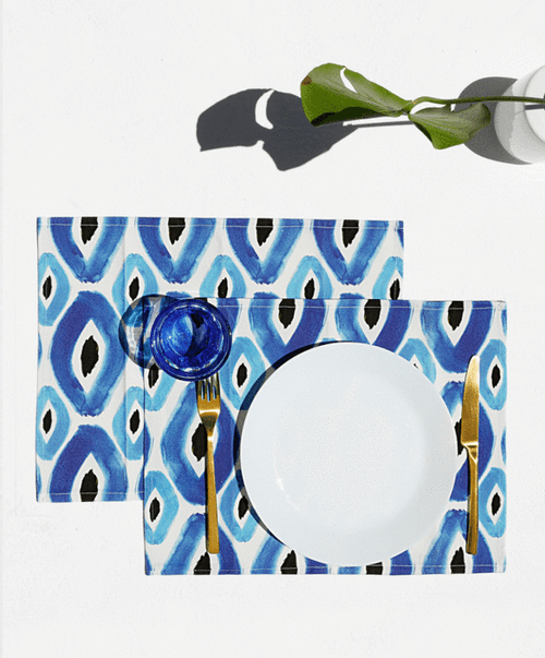 Rhombus, Set of 2 Cotton-made, Placemats in Blue