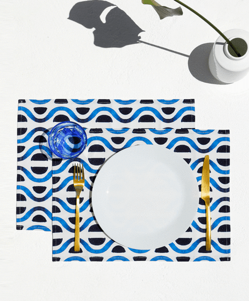 Santorini, Set of 2 Cotton-made, Placemats in Blue