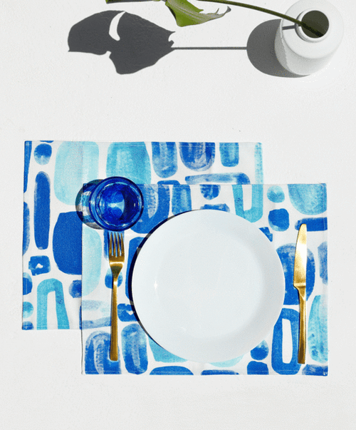 Mosaico, Set of 2 Cotton-made, Placemats in Blue