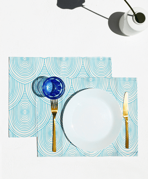 Arc, Set of 2 Cotton-made, Placemats in Light Blue