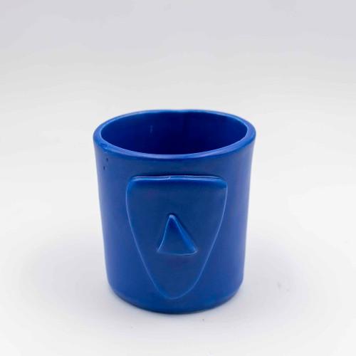 Cycladian Style, Short Ceramic Mug in Aegean Blue
