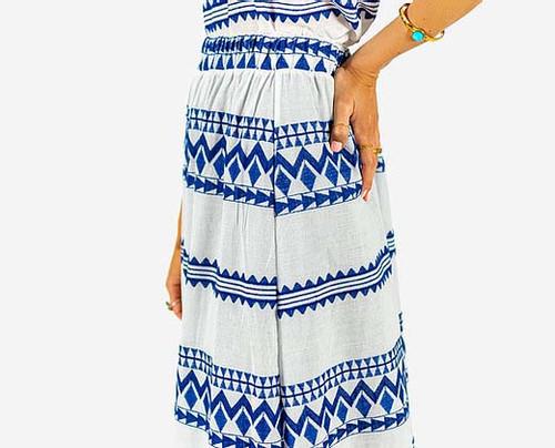 Zakar Maxi Skirt in Cycladian Blue & White