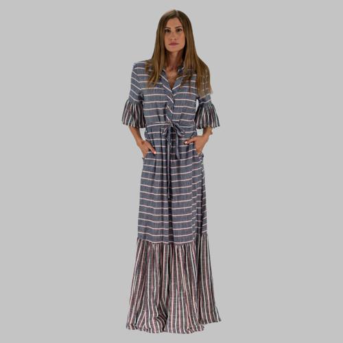Denim Blue, Striped Maxi Dress, Belted