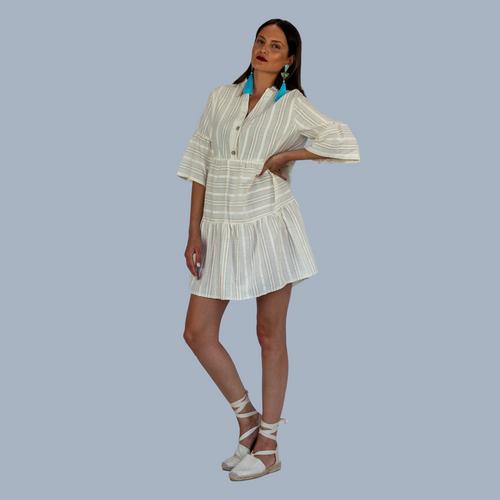 Tunic, Mini Dress, Beige, Colourful Lining