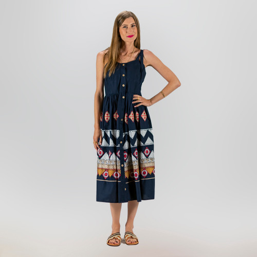 Navy, Embroidered, Summer Dress with Bow Straps