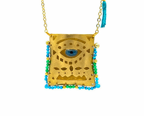 Evil Eye Tagári, in Cycladian Blue and Lime, Pendant