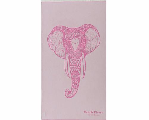 Pink Elephant, Premium Cotton Beach Towel