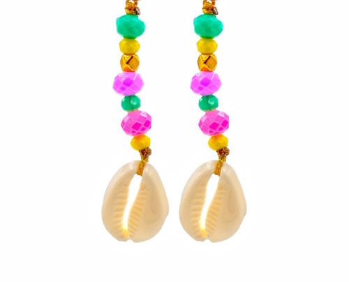 Boho Style, Sea Shell, Colourful Earrings
