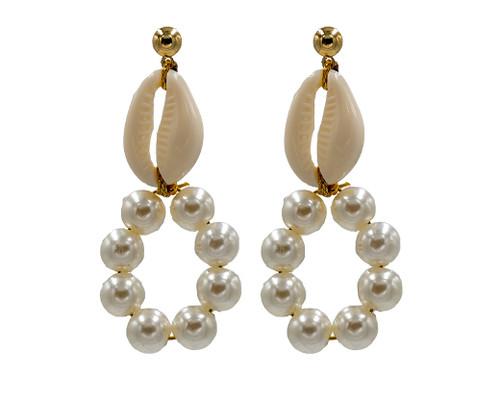 Mother of Shell, Freshwater Pearl, Hoop Earrings