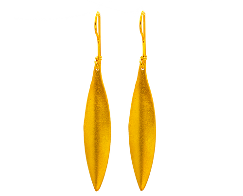 Golden Olive Leaf, Earrings in Gold Plated Silver