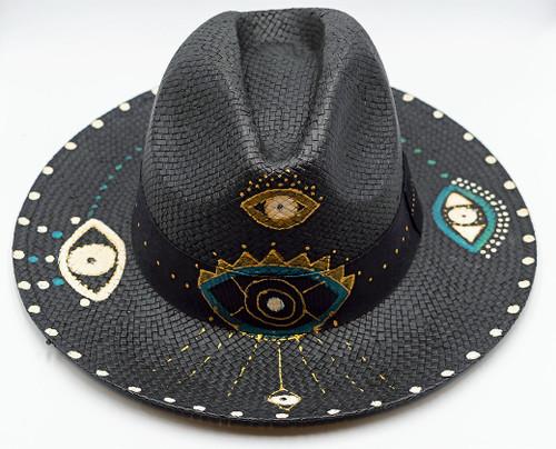 Glam Eye, Fedora, Hand-painted Hat in Black