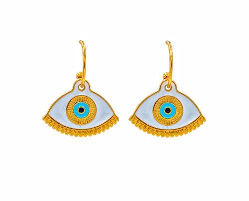 Gold Evil Eye in White, Hoop Earrings