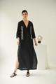 Lobelia, Linen Dress in Black, Embroidered