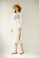 Iris, Linen Dress in White, Embroidered