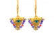 """Purple and Coral """"Fylachto"""" Talisman Earrings"""