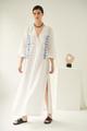 Lobelia, Linen Dress in White, Embroidered