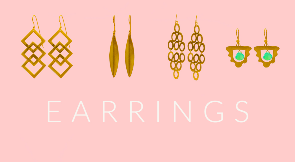 four pairs of gold plated handcrafted earrings  in-front of a pale pink background
