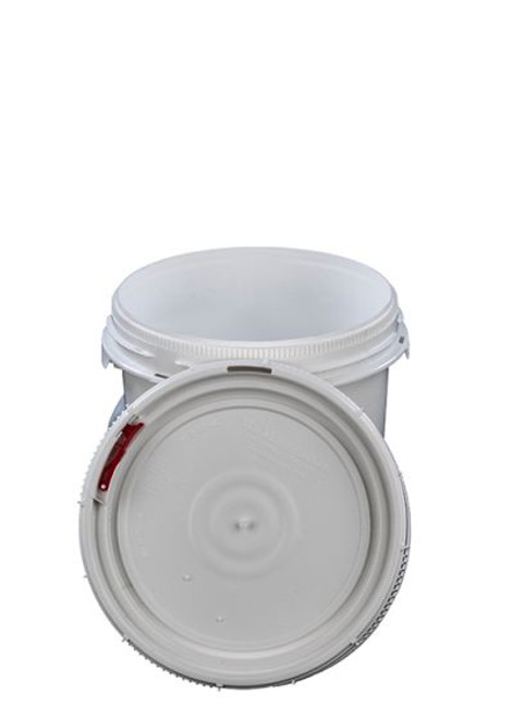 LIFE LATCH® NEW GENERATION 1.25 GALLON PLASTIC PAIL WITH WHITE SCREW TOP LID – WHITE