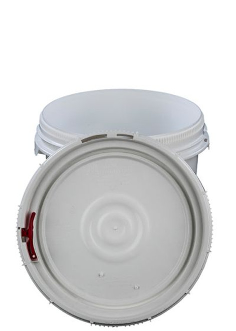 LIFE LATCH ® 3.5 GALLON PLASTIC PAIL WITH WHITE SCREW TOP LID – WHITE