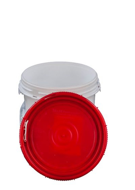 10.7 gallon plastic pail container is a quick access food bucket with screw on lid that is white, UN rated, tamper evident, and child resistant with a positive safety. It can be an emergency water storage container.