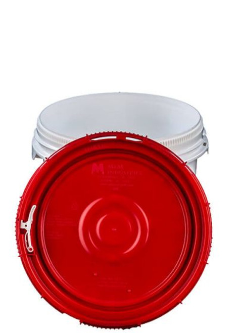 LIFE LATCH® NEW GENERATION 3.5 GALLON PLASTIC PAIL WITH RED SCREW TOP LID – WHITE