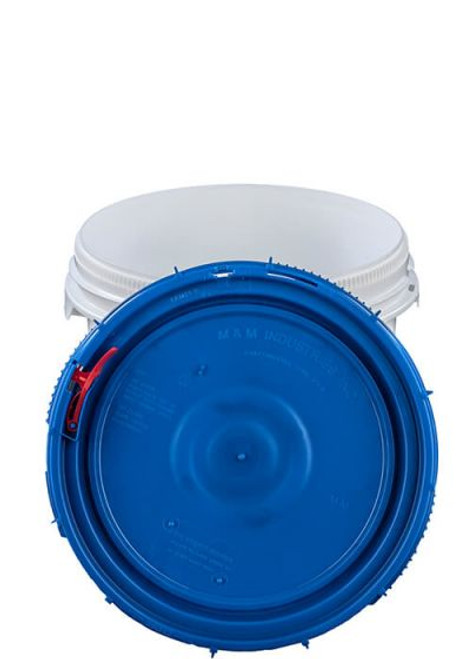 LIFE LATCH® NEW GENERATION 3.5 GALLON PLASTIC PAIL WITH BLUE SCREW TOP LID – WHITE