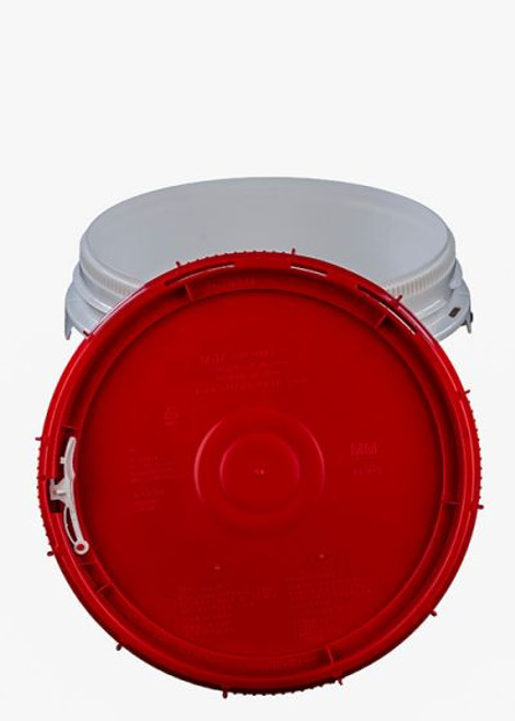 LIFE LATCH® NEW GENERATION 2.5 GALLON PLASTIC PAIL WITH RED SCREW TOP LID – WHITE