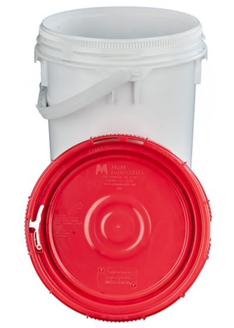 LIFE LATCH® NEW GENERATION 6.5 GALLON PLASTIC PAIL WITH RED SCREW TOP LID – WHITE