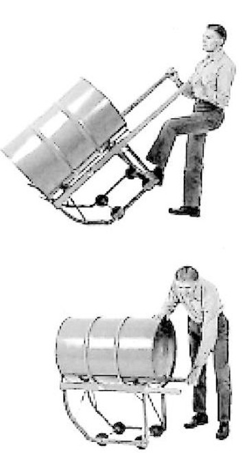 KNOCKDOWN COMBINATION DRUM CRADLE - 5 INCH HARD RUBBER WHEELS
