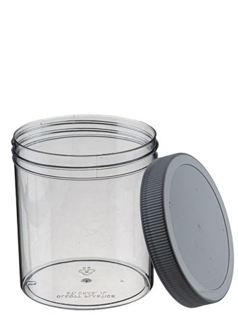 16 OZ WIDE MOUTH POLYSTYRENE JAR WITH LID