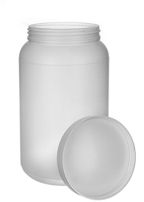 1/2 GALLON NATURAL HDPE WIDE MOUTH JAR WITH LID
