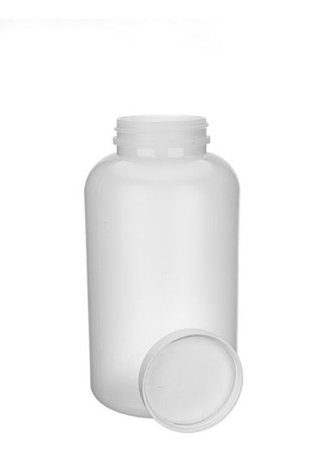 25 OZ NATURAL HDPE WIDE MOUTH BOTTLE WITH LID
