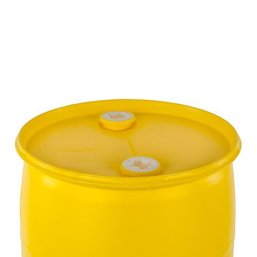 30 Gallon Plastic Drum, Closed, UN Rated, Fittings – Yellow