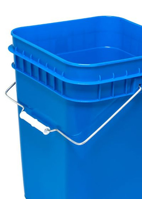 4 Gallon Square Plastic Pail, Open Head - Blue