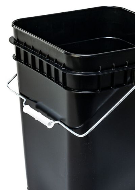 4 Gallon Square Plastic Pail, Open Head, 75 Mil - Black