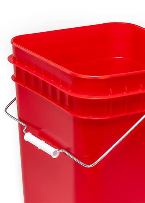 4 Gallon Square Plastic Pail, Open Head, 75 Mil - Red