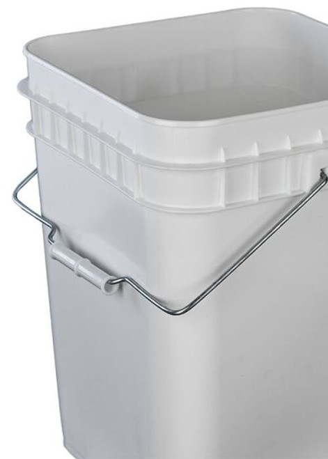 4 Gallon Square Plastic Pail, Open Head, 75 Mil - White