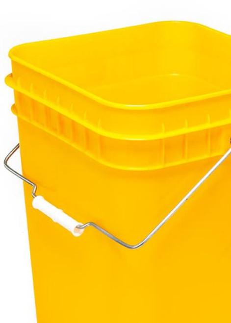 4 Gallon Square Plastic Pail, Open Head, 75 Mil - Yellow