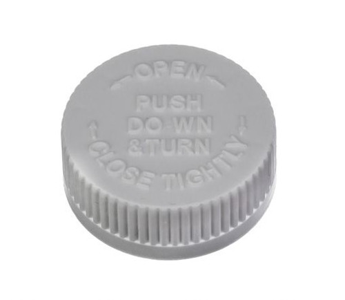 38 mm Polypropylene Lined Screw Cap, Child Resistant – White