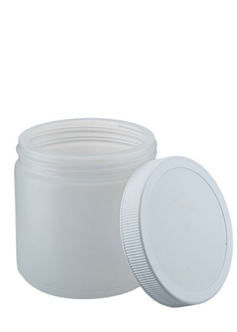 16 oz Natural HDPE Wide Mouth Jar with Lid