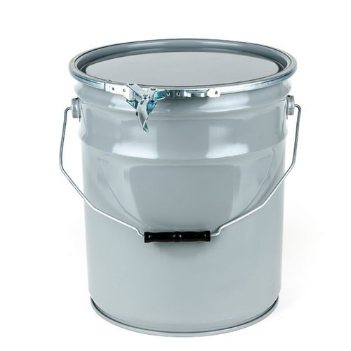 5 GALLON STEEL PAIL, OPEN HEAD, LUG COVER, LEVER LOCK RING - GRAY