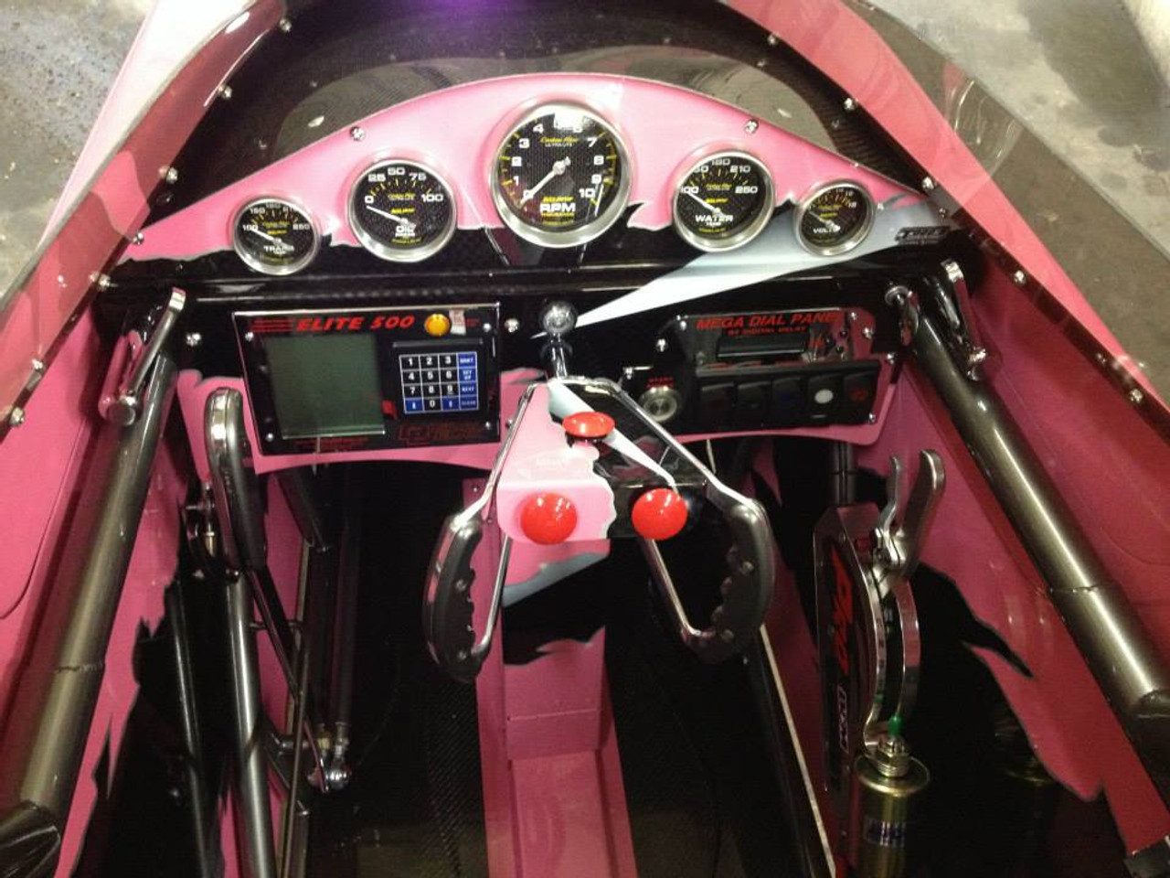Danny Nelson Racecraft Chassis pink dragster dash