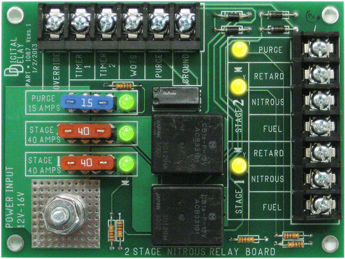 Digital Delay 2-STAGE NITROUS RELAY BOARD Designed to simplify wiring and protect your car