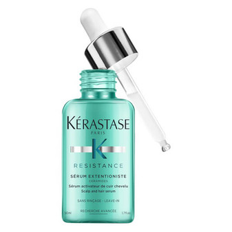 Scalp and hair serum for hair seeking healthy length. Strengthens and fortifies hair for reduced breakage.
