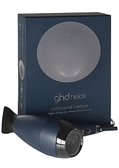 A beautiful blow-dry by birth-right, harness the power of the new ghd helios™ - the latest innovation in styling control.  Featuring bespoke Aeroprecis™ technology, combining advanced internal aerodynamics to focus the high power airflow with a contoured precision nozzle for even heat distribution, the ghd helios™ is a hero for better styling control, 8/10 agree*. The lightweight, brushless motor creates a powerful airflow travelling at 120kmh to drastically speed up styling, so you have more time to conquer the world. Ergonomically balanced for a lighter styling experience and adorned in a deep rich plum hue with elegant golden accents, ghd helios™ champions salon-quality like never before.  Engineered to streamline airflow for a powerful yet precise performance, take their breath away with 30% more shine** and smoother results, 9/10 agree**. Varying power and temperature controls ensure that no matter your desired style or natural texture, you can achieve a stunning blow-dry and flawless finish.  All hail the power of the ghd helios™.  *Consumer testing on 101 women vs. their regular hairdryer  **Technical testing, 2019, vs naturally dried hair  PRODUCT FEATURES Longer life, brushless motor to deliver a 120kmh airflow for a quick salon-worthy blow dry. Aeroprecis™ technology enables intuitive styling with more precise control. Variable power & temperature controls, including cool shot. Lighter in weight due to the ergonomically balanced design. Drastically cuts blowdry time* Bespoke acoustic system technology ensuring low sound levels whilst you style. 3m power cable Weighing 0.78kg  UK three pin plug