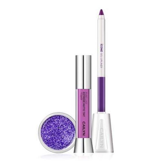 Cailyn Matte to Glitter lip Trio Purple