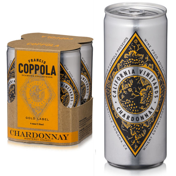 Francis Coppola Diamond Series Gold Label Monterey Chardonnay 4-Pack 250ml Cans